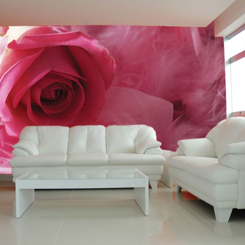 fototapeta różowa róża salon