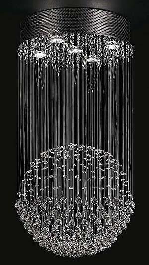 Żyrandol kryształowa kula - wiszący, z kryształkami