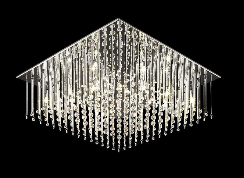 Duży, nowoczesny, kwadratowy żyrandol kryształowy do salonu