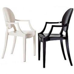 Białe i czarne krzesło Louis Ghost Chair