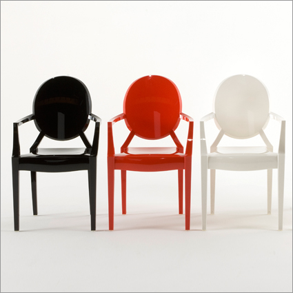 Matowe kolorowe krzesła duch - model Louis