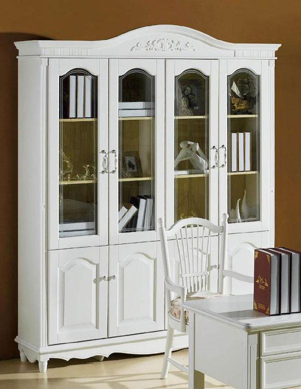 Stylowa biała biblioteczka oszklona