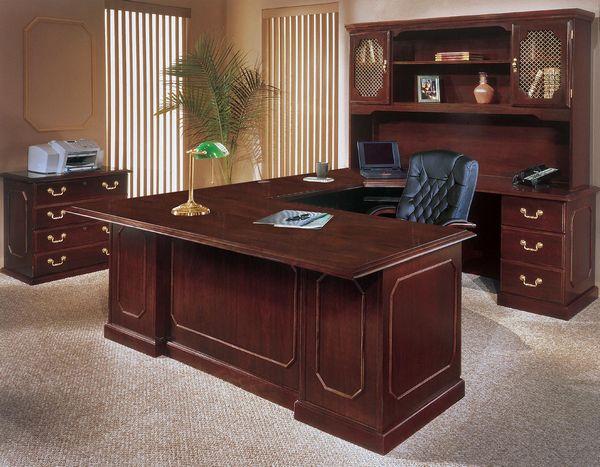 Drewniana, stylowa komoda gabinetowa z biurkiem