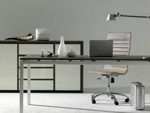 Minimalistyczna, biało-brązowa komoda do biura