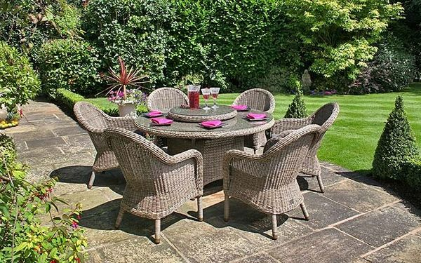 Rattanowy zestaw ogrodowy stolik krzesła fotele