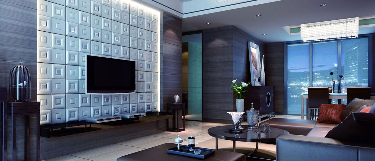 Białe, kwadratowe, trójwymiarowe panele zamontowane w salonie, na ścianie z telewizorem
