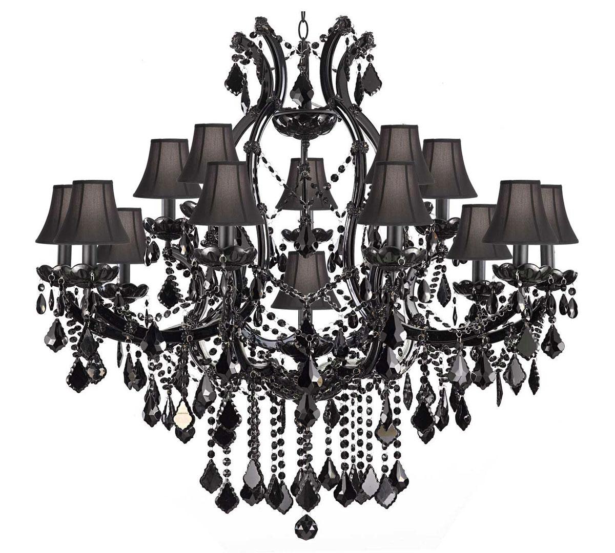 Duży, stylowy, krysztalowy żyrandol z czarnych krysztalkow