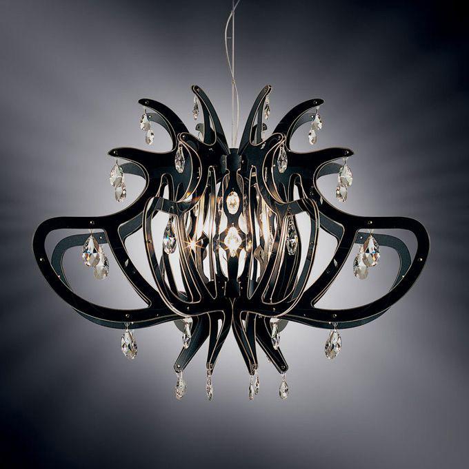 """Elegancki, nowoczesny żyrandol """"Meduza""""w kolorze czarnym, wykonany z tworzyw Opalflex i Christaflex oraz kryształków Swarovskiego"""