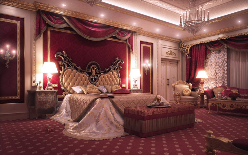 Romantyczna sypialnia - królewski wystrój