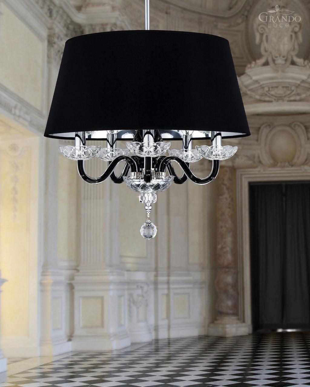 Luksusowy, czarny, chromowany żyrandol metalowy w stylu klasycznym, z kryształkami Swarovskiego i kloszem