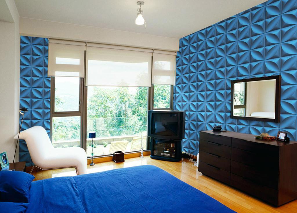 Niebieskie, poliuretanowe panele ścienne 3D w sypialni, nowoczesny kwadratowy wzór