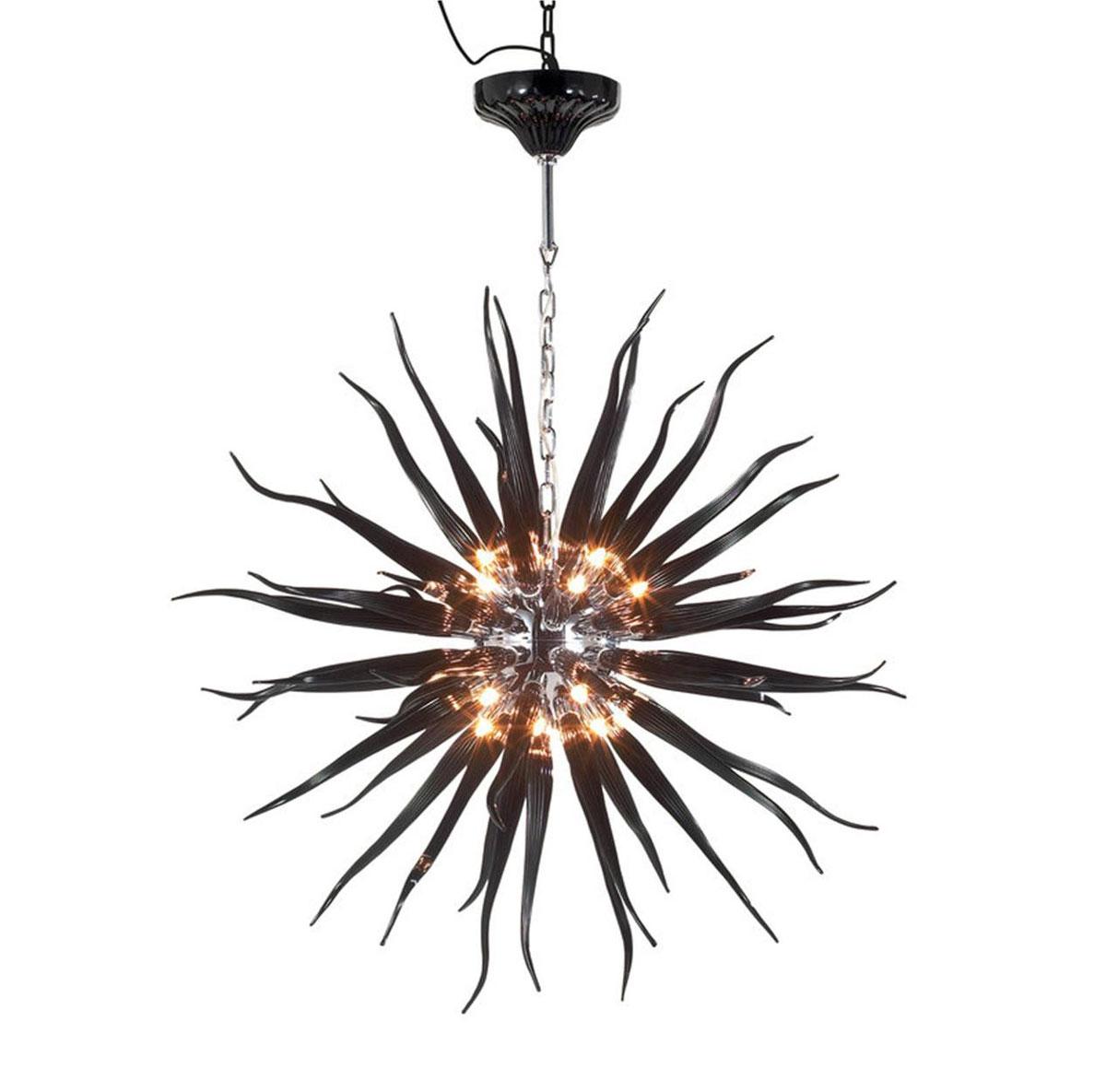 """Nowoczesny żyrandol """"Gwiezdny rozbłysk"""" z czarnego dmuchanego szkła, z chromowaną konstrukcją i łańcuchem"""