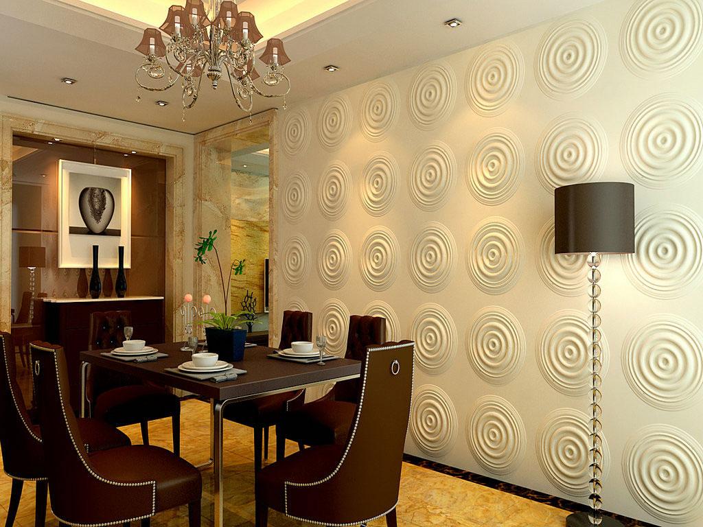 Ozdobne panele 3D z białym, okrągłym wzorem, zamontowane na ścianie w jadalni