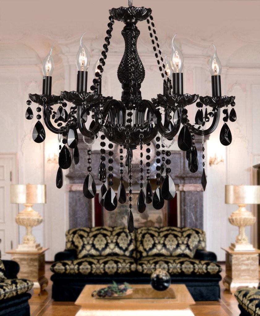 Ozdobny, klasyczny, stylowy czarny żyrandol z kryształkami w stylu vintage