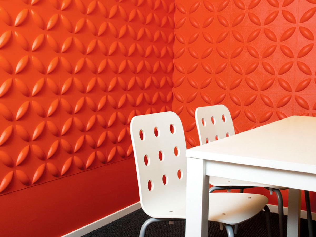 Przymocowane do ściany, pomarańczowe, bambusowe panele dekoracyjne 3D