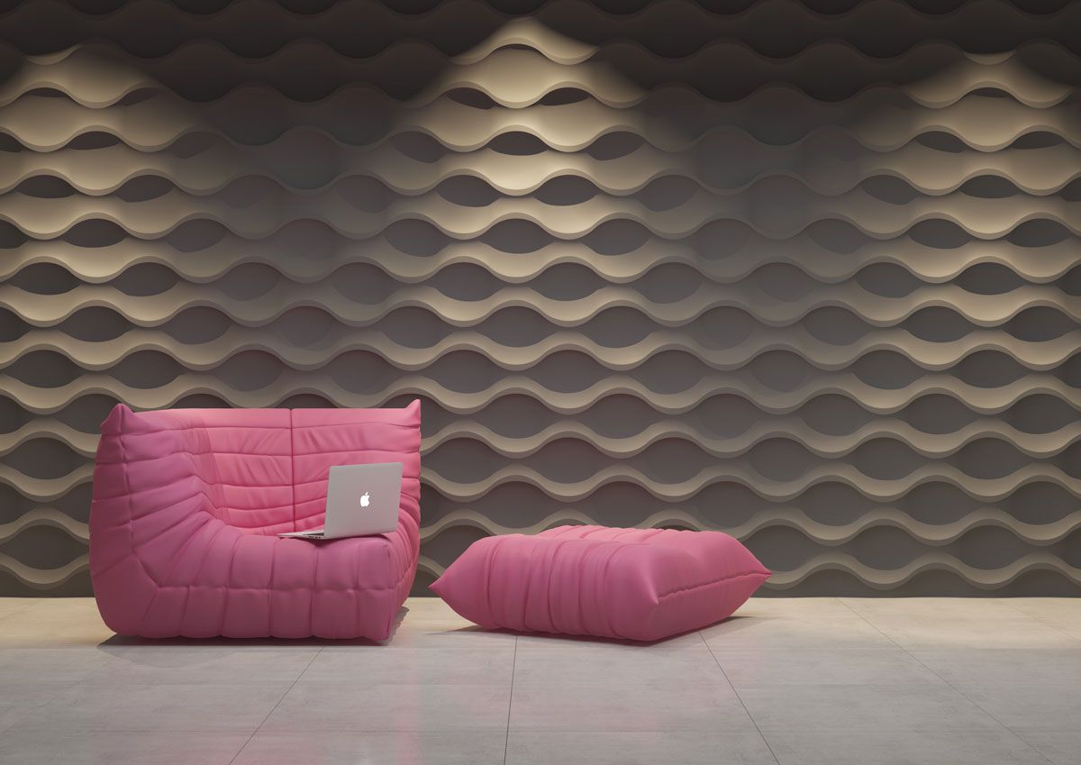 Ściana 3D wykonana z brązowych paneli dekoracyjnych, wzór poziomych fal wydobywa efekt światlocienia