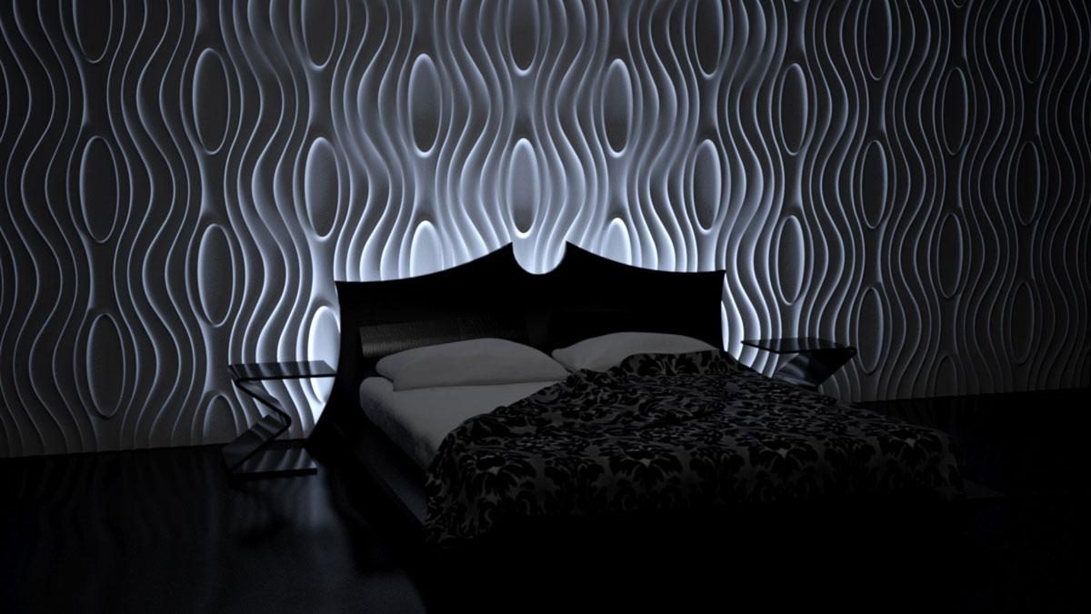 Sypialnia z łóżkiem i podświetloną ścianą z gipsowymi panelami dekoracyjnymi o mocnym efekcie 3D. Wzór inspirowany motywem łodzi otoczonej przez fale.