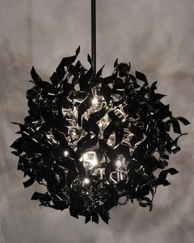 Włoski żyrandol z czarnego szkła, Andromeda Murano kolekcja Nastro