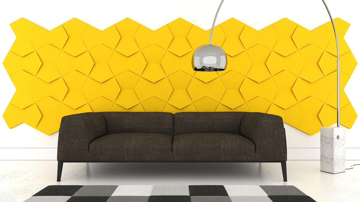 Żółte panele ścienne 3D o miekkiej powierzchni i ciekawym, nowoczesnym kształcie