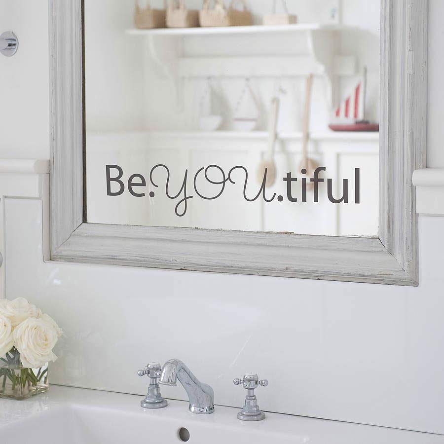 """Naklejka na lustro łazienkowe, stylowy napis """"Be.YOU.tiful"""""""