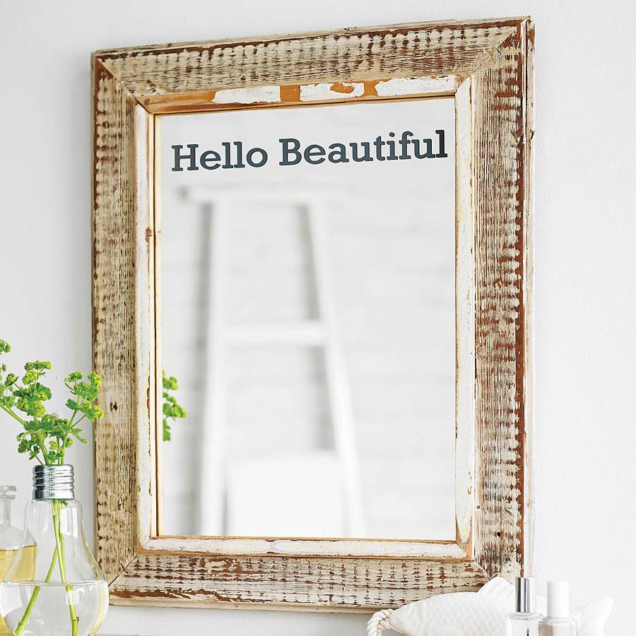 "Napis ""Hello Beautiful"" - winylowa naklejka na lustro"