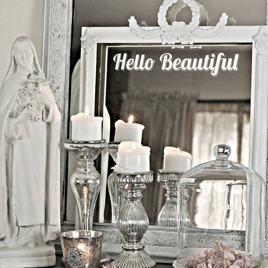 "Winylowa naklejka na lustro, napis ""Hello Beautiful"""