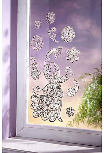 """Złote i srebrne naklejki na szybę, lustro, ścianę """"Rajski ptak"""", 10 elementów, paw oraz kwiaty"""