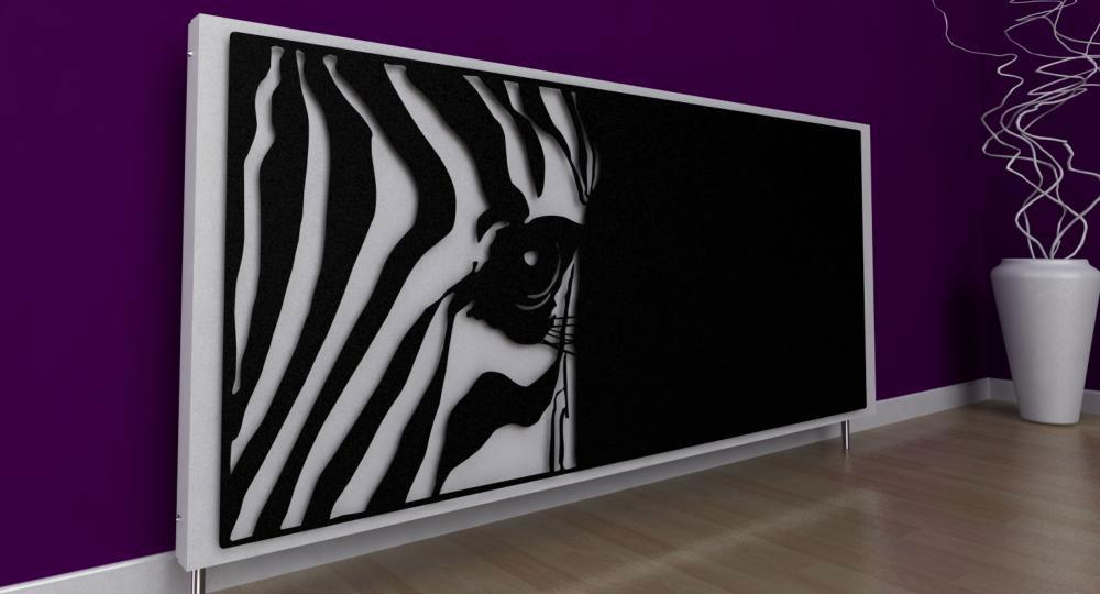 Dekoracyjna, artystyczna osłona grzejnika z motywem zebry