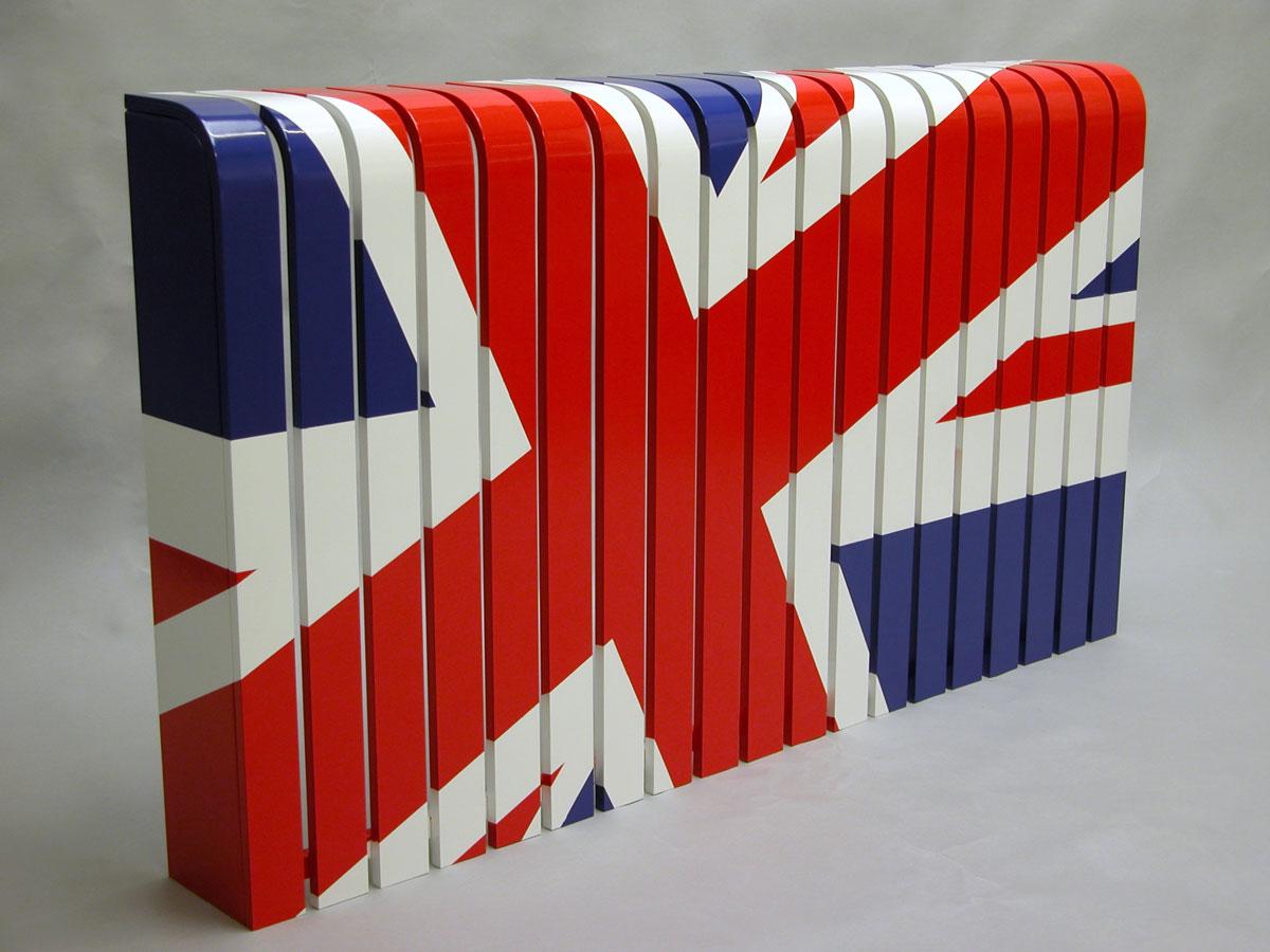 Barwna dekoracyjna nakładka na kaloryfer z motywem flagi brytyjskiej
