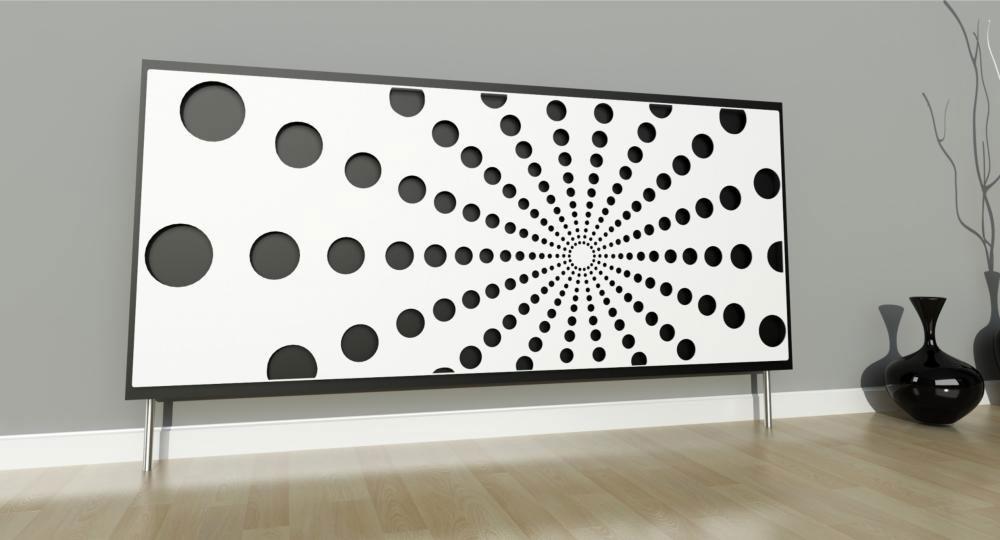 Zamontowana na magnesy osłona na kaloryfer z dekoracyjnym wzorem z kółek
