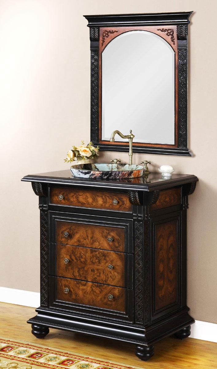 Ekskluzywna, antyczna stojąca szafka łazienkowa z ciemnego drewna wyposażona w artystyczną umywalkę z kolorowego szkła, ozdobną armaturę i lustro.