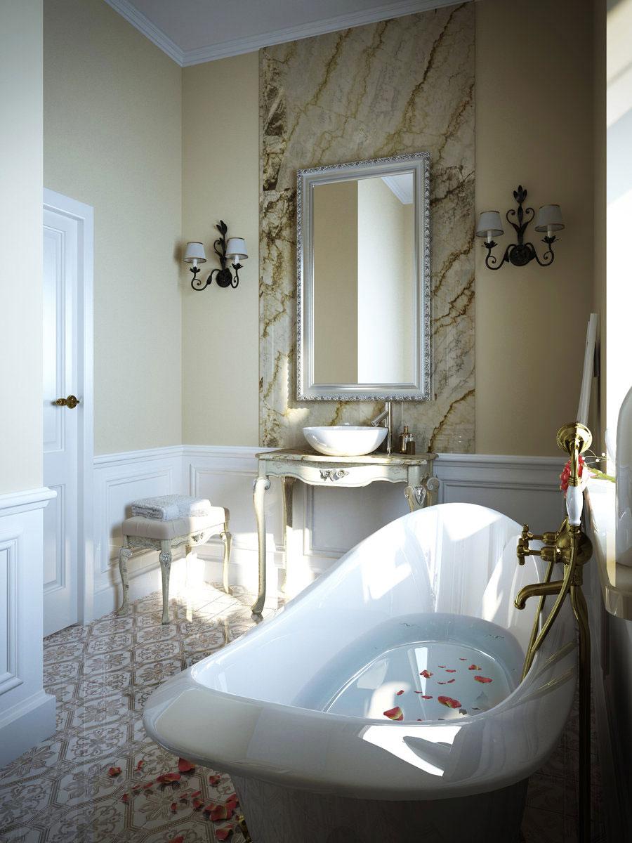 Luksusowe wnętrze małej łazienki w stylu ludwikowskim: owalna, wolnostojąca wanna, drewniana, biała, stylowa toaletka z umywalką nablatową oraz wysokie lustro i ozdobne kinkiety ścienne