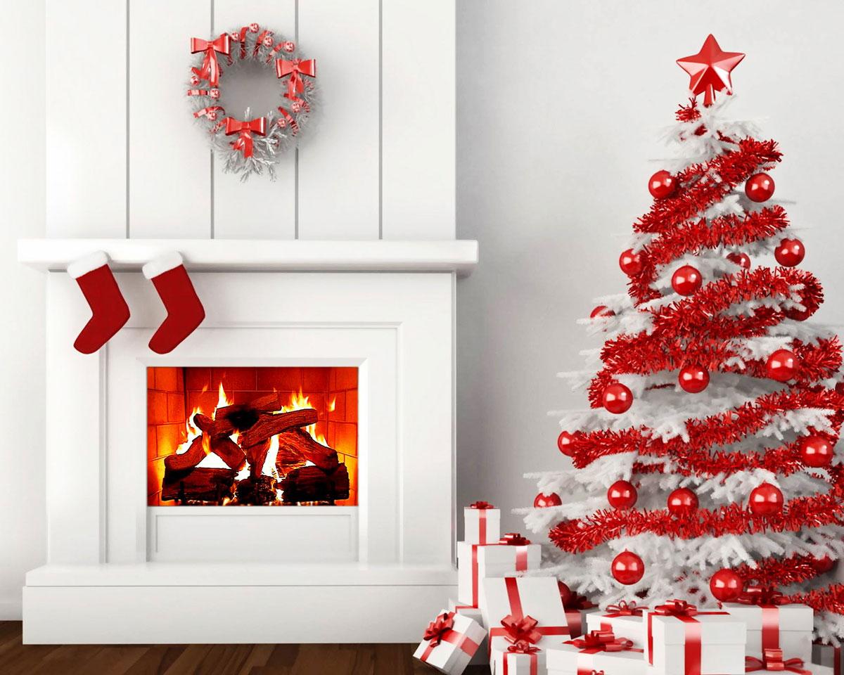 Nowoczesna i minimalistyczna biało-czerwona choinka
