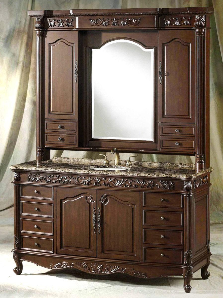 Ręcznie rzeźbiony drewniany regał łazienkowy w stylu retro w brązowym kolorze. Posiada wiele szuflad, praktycznych i pojemnych schowków, luksusowy marmurowy blat pod umywalkę oraz zabudowane lustro.
