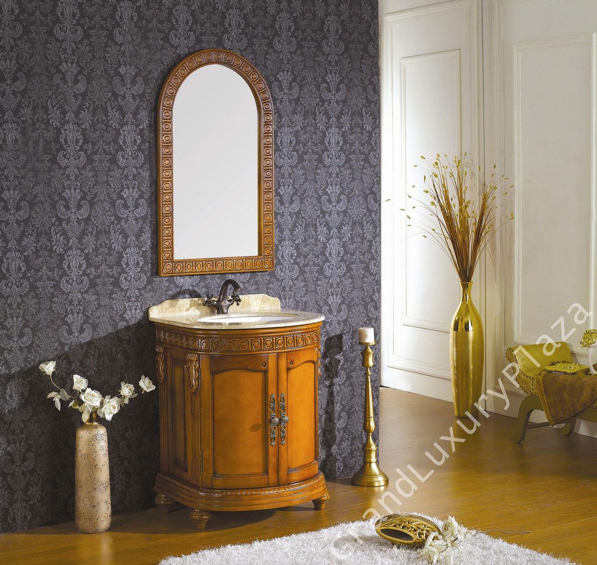 Stylowa łazienkowa szafka pod umywalkę i lustro z kompletu. Wykonana z jasnego drewna i marmuru, ręcznie rzeźbiona.