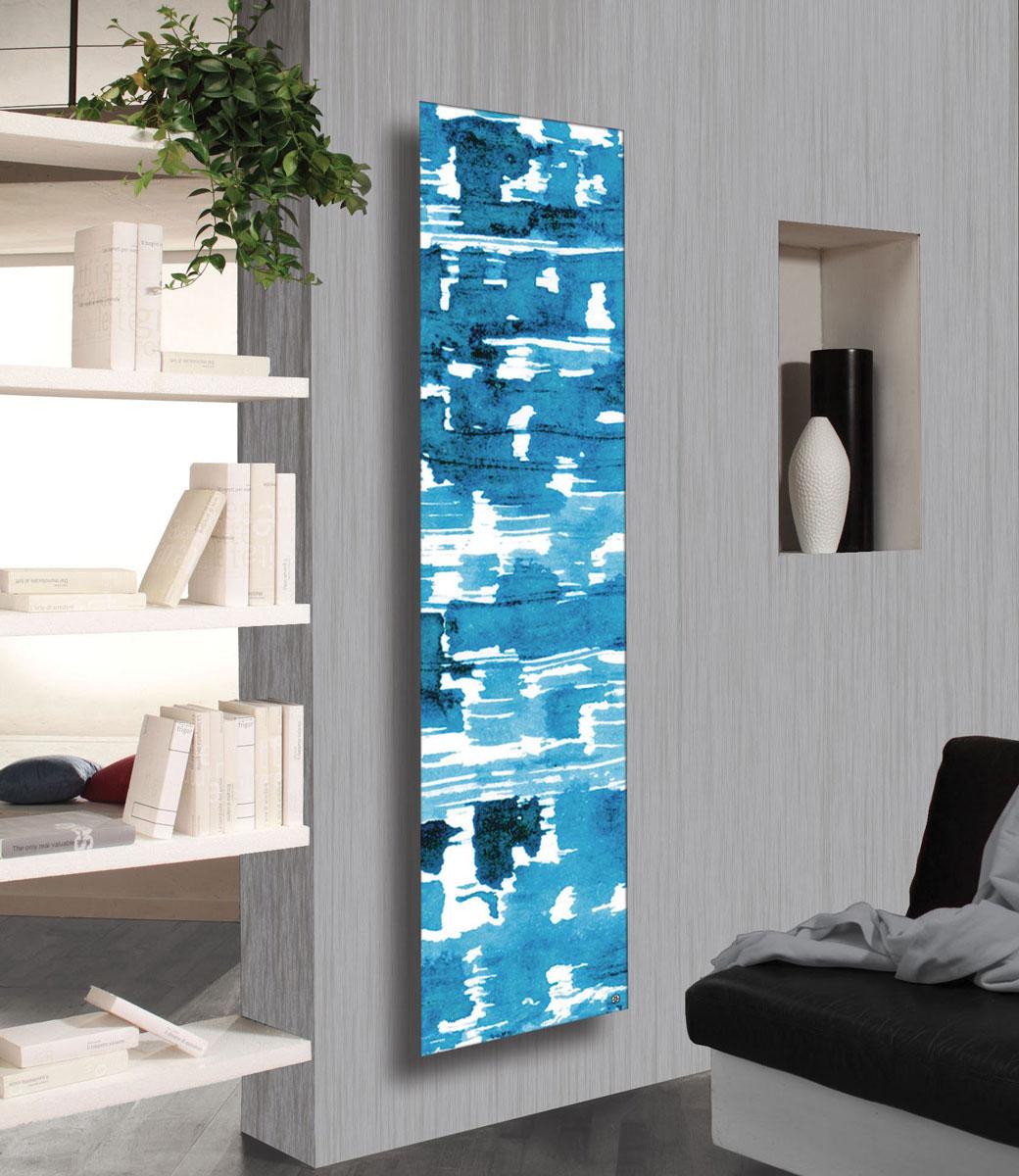 Płytowy grzejnik dekoracyjny pokojowy ze stali niestopowej (węglowej) z grafiką w niebieskich odcieniach