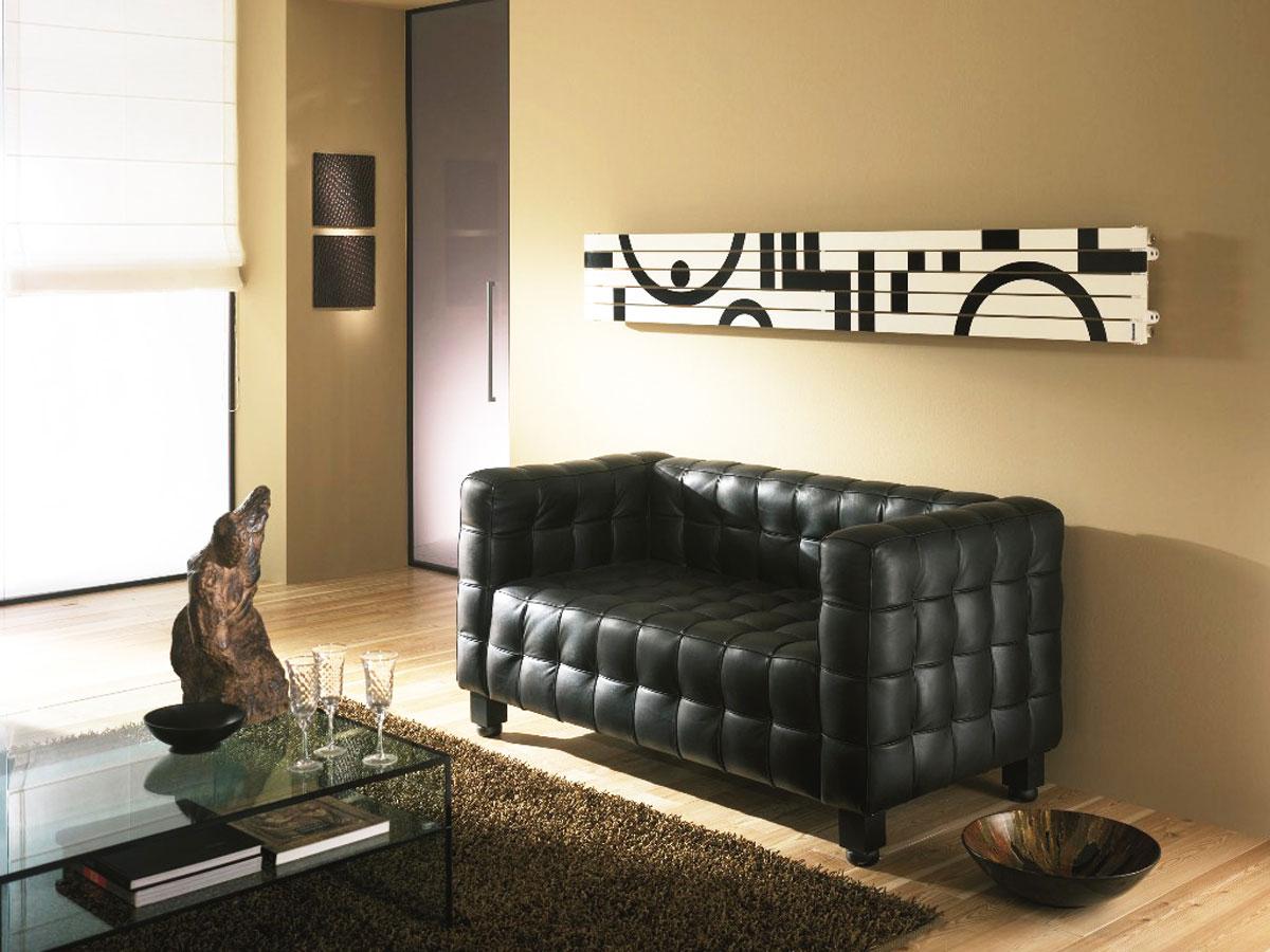 Włoski, biało-czarny grzejnik ozdobny do salonu, sypialni - producent Cordivari, model Rosy Graphic Totem White