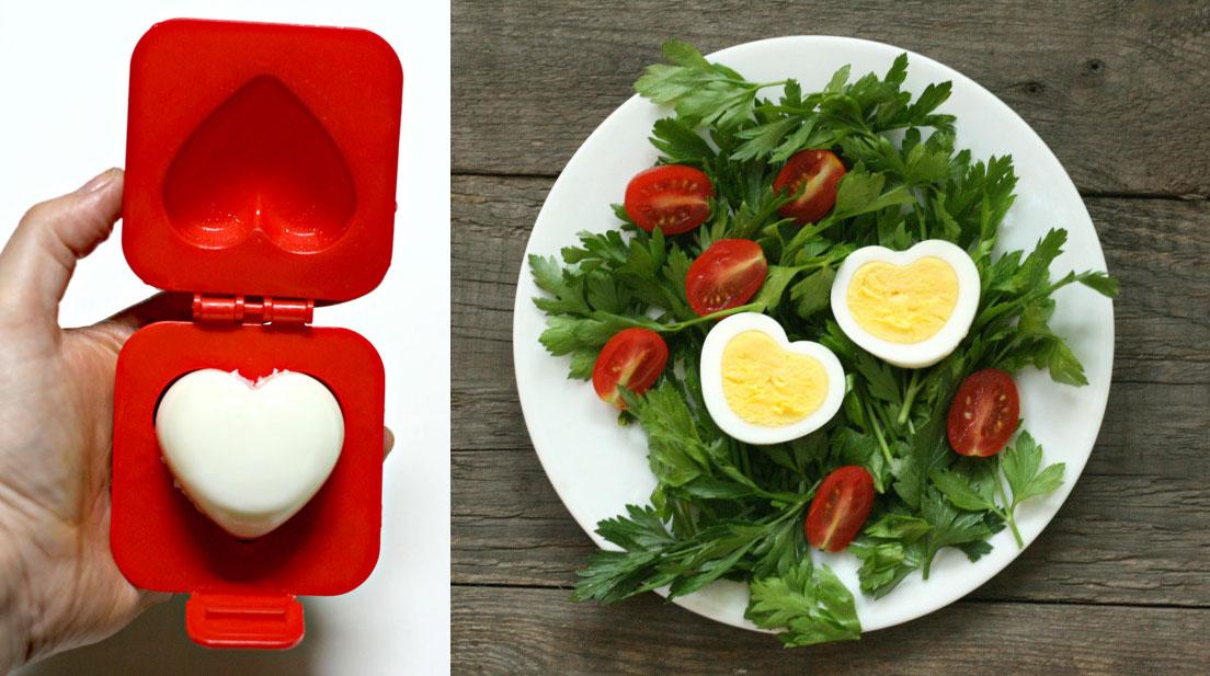 walentynkowe inspiracje kulinarne i pomysły dekoracyjne: z tą foremką zrobisz jajko na twardo w kształcie serca