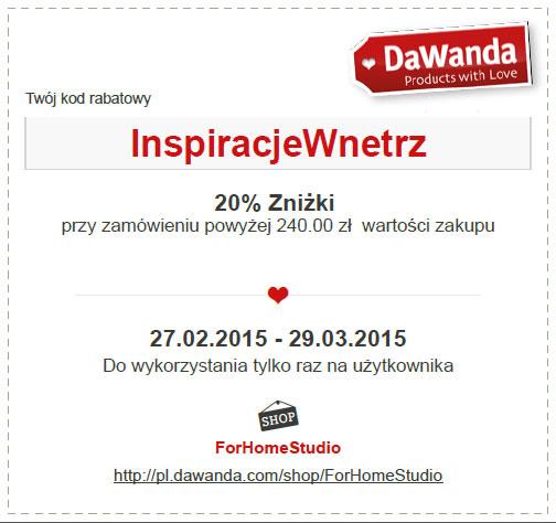 Pobierz kod rabatowy ForHomeStudio dla czytelników Inspiracje-wnetrz.pl