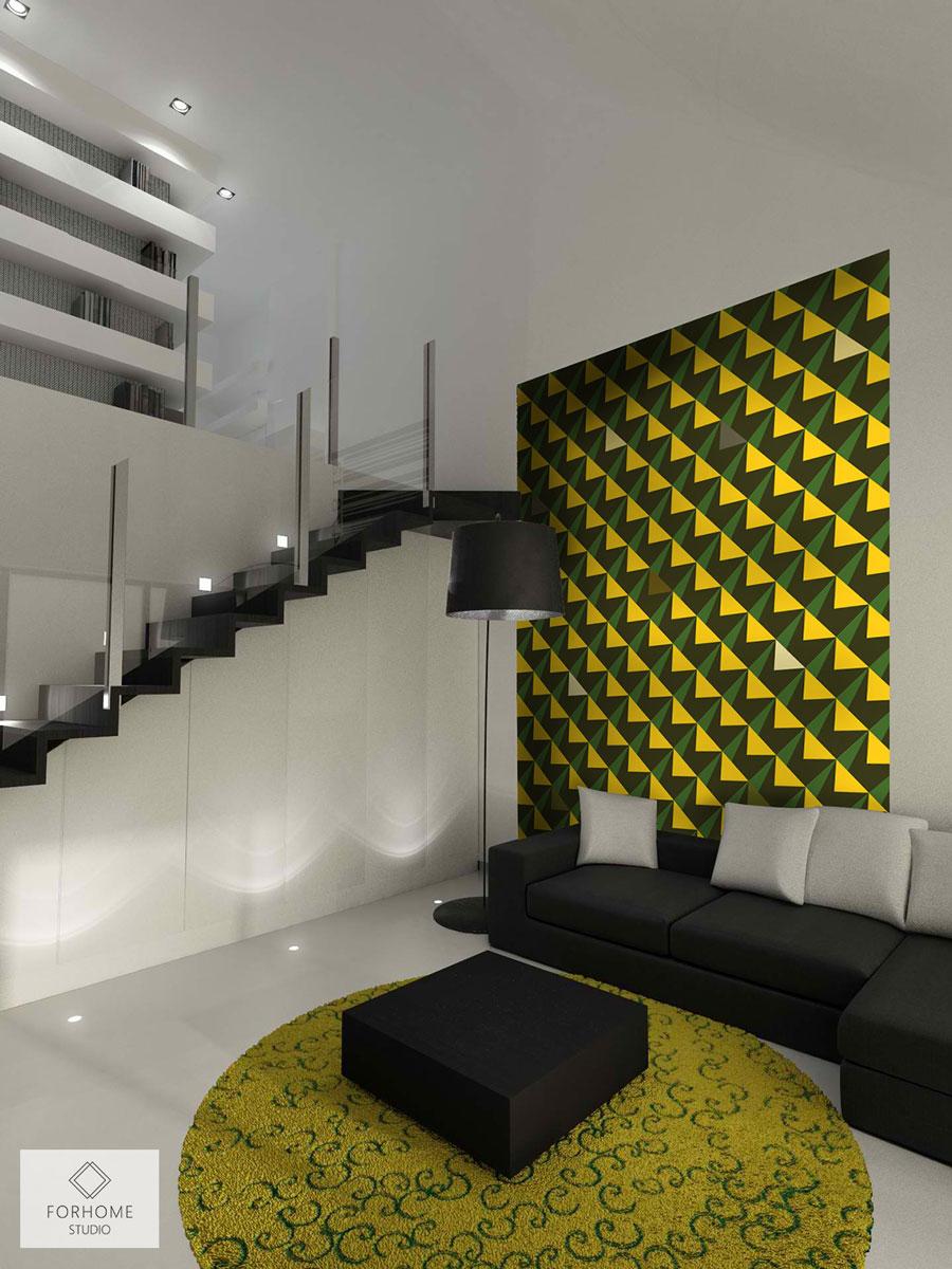 8f8b83e91b4a63 Jasna tapeta ludowa w tradycyjne wzory Nowoczesna, czarno-żółto-zielona tapeta  geometryczna