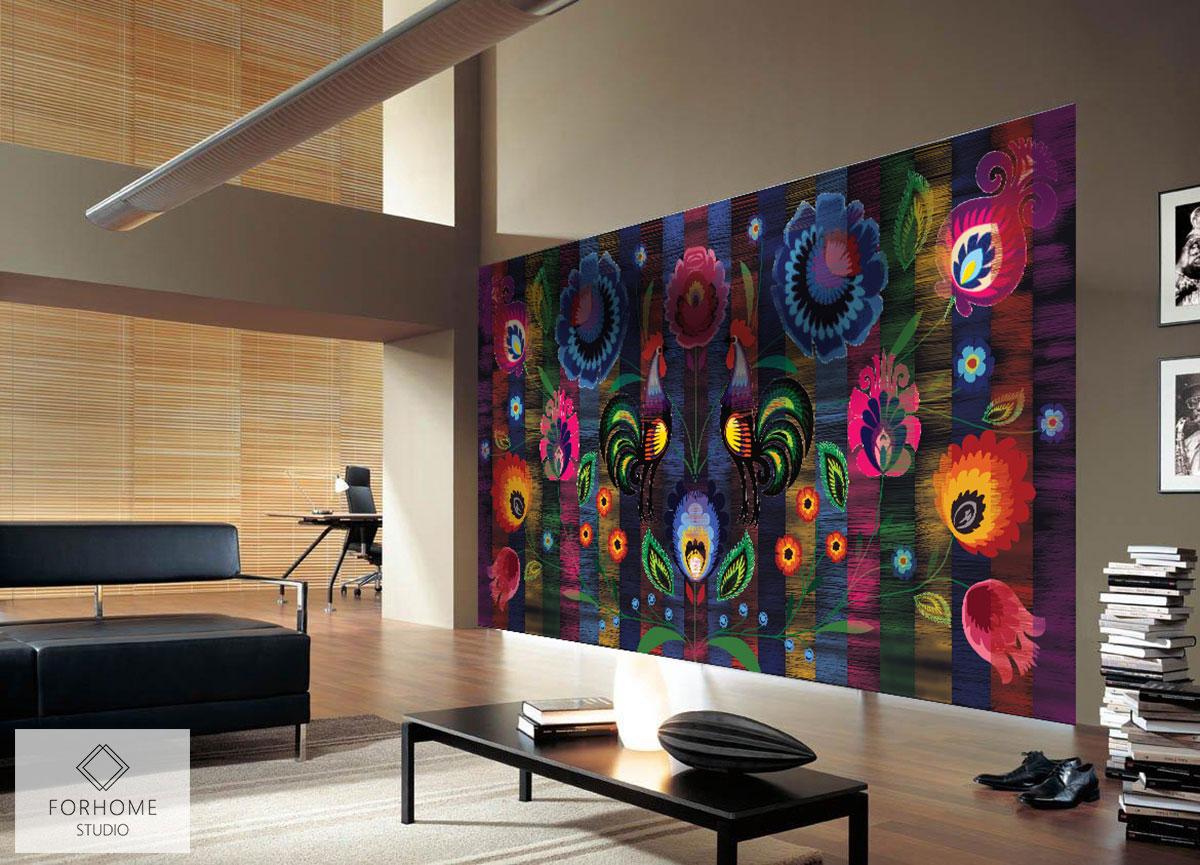 Tapeta folkowa w dużym nowoczesnym salonie