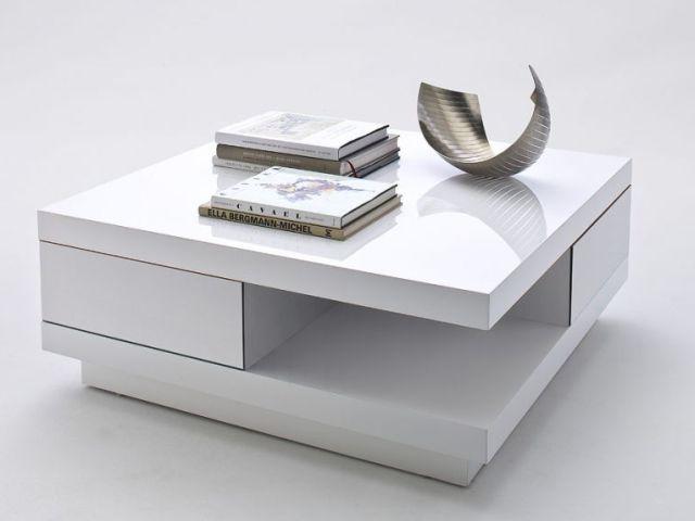 Nowoczesny, kwadratowy, biały stolik kawowy do domu lub biura ze schowkiem i blatem w połysku