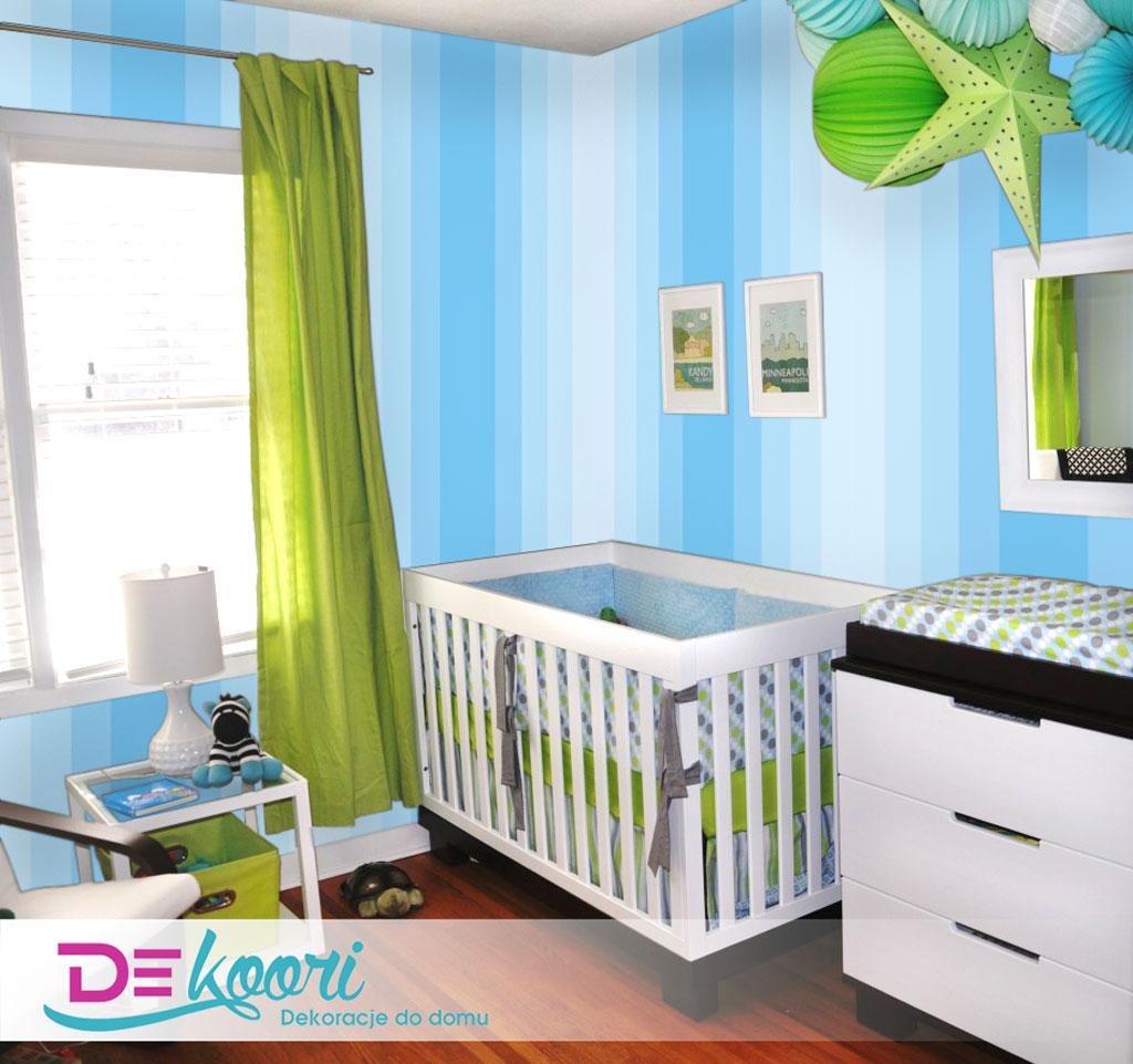 Gradientowa, chłopięca tapeta w paski pionowe niebieskie