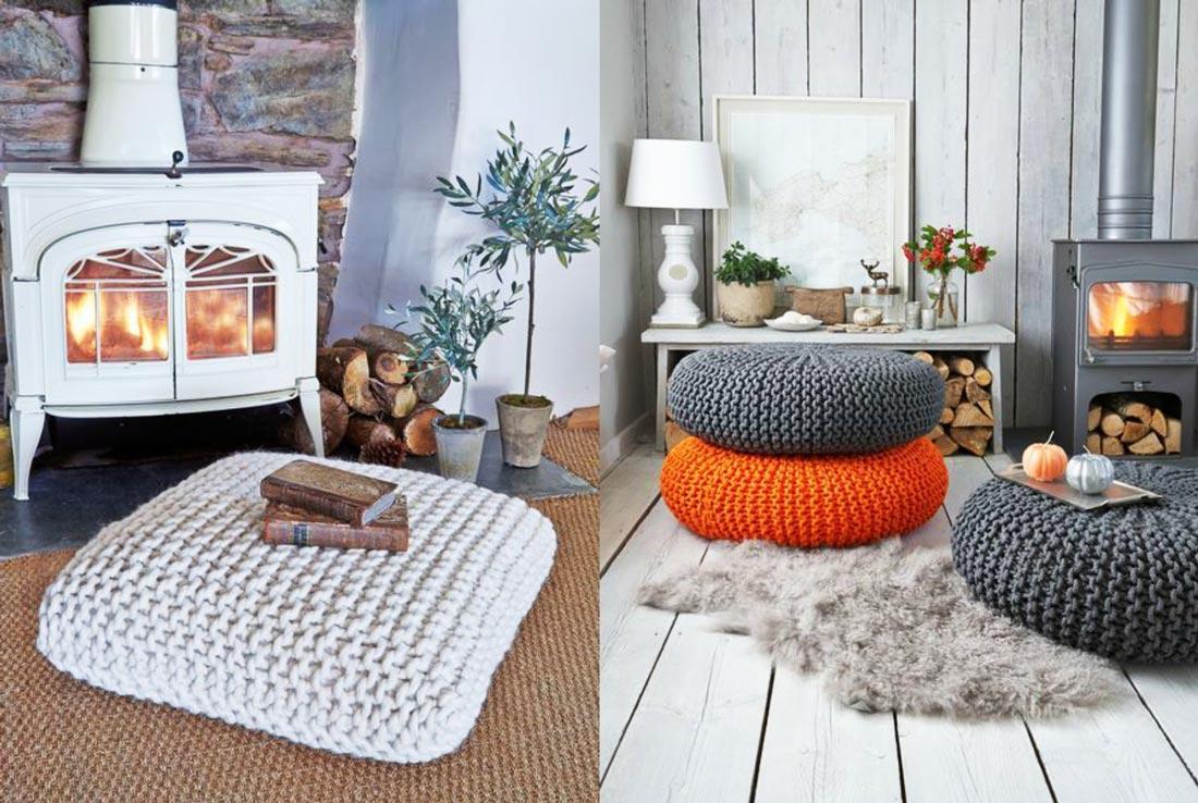 Duże poduszki do siedzenia na podłodze. Wełniane, wygodne, szare, pomarańczowe. Z książką, przy kominku.
