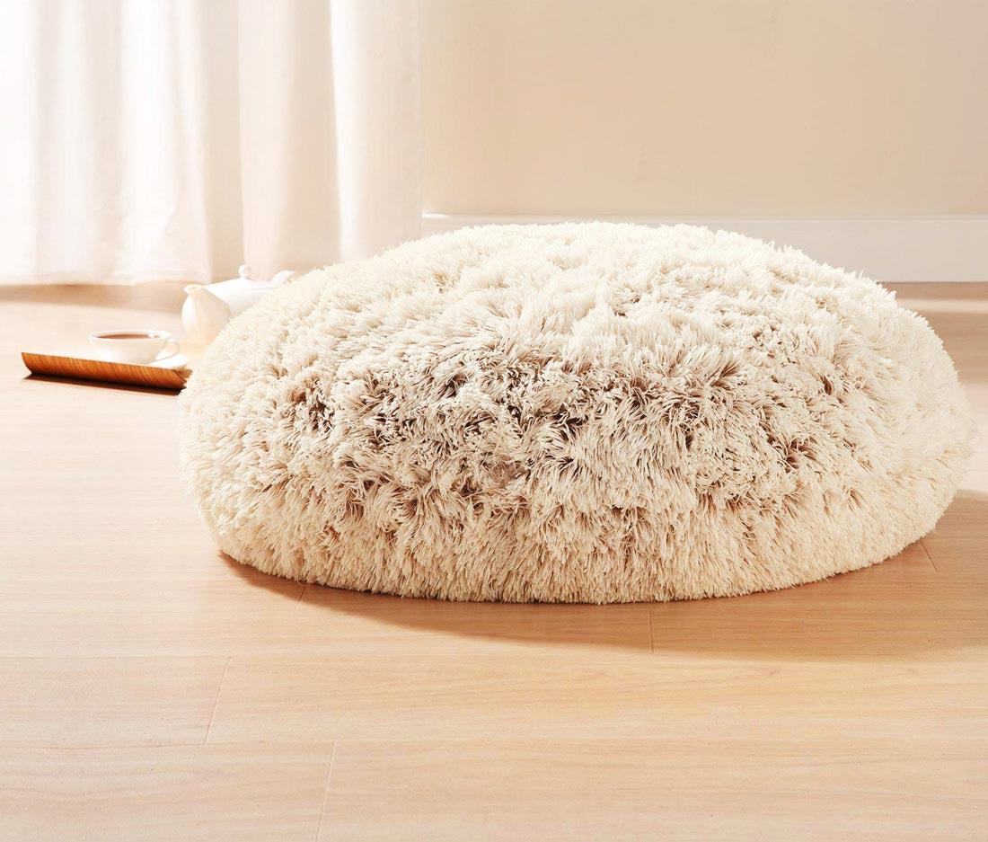 Miękka, puszysta poduszka do siedzenia na podłodze z dwukolorowym włosiem