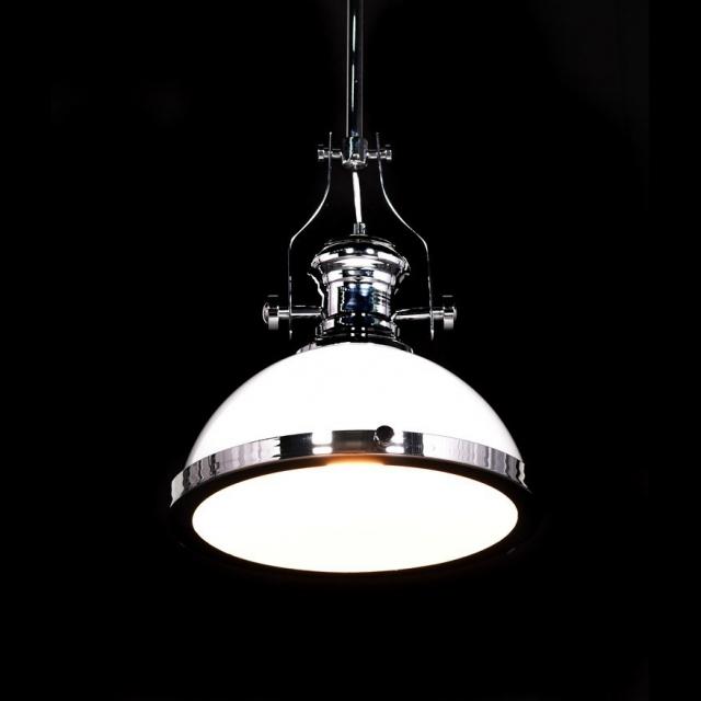oświetlenie skandynawskie lampa industrialna wisząca biała metalowa ETTORE sklep DEKOORI.PL