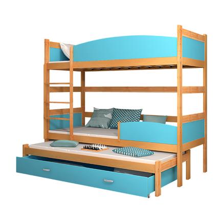 Młodzieżowe łóżko piętrowe z trzema posłaniami