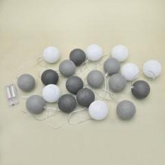 Biało-szare kulki ledowe, lampki cotton balls