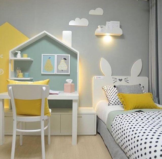 Dziewczęcy pokój w kolorze szaro-żółtym