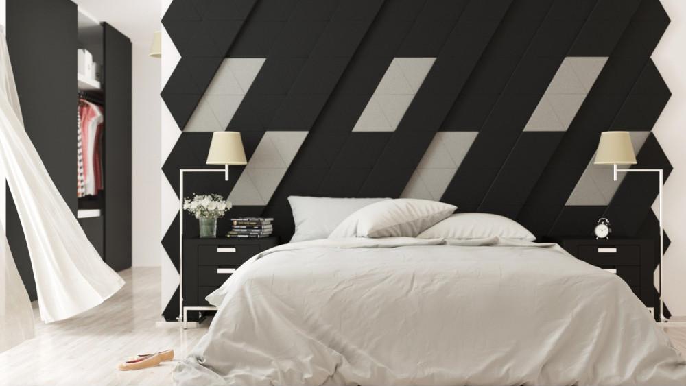 Czarne ozdobne nowoczesne panele romby